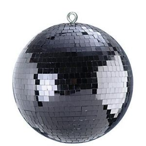 "Black 12"" disco mirror ball"