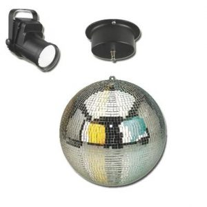 30cm mirror ball, motor and led spotlight disco set