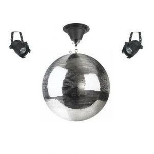 50cm mirror ball disco light set includes rotating motor and two spotlights