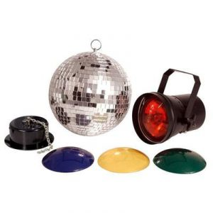 Disco Light set - mirror ball, spotlight and rotating motor