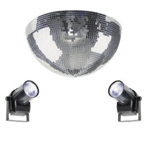 half mirror ball, motor and disco light set